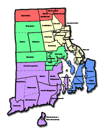 Map of Rhode Island with districts named and outlined