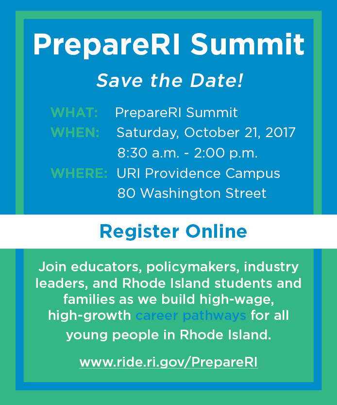 Save the date and register at this link for the PrepareRI Summit on October 21