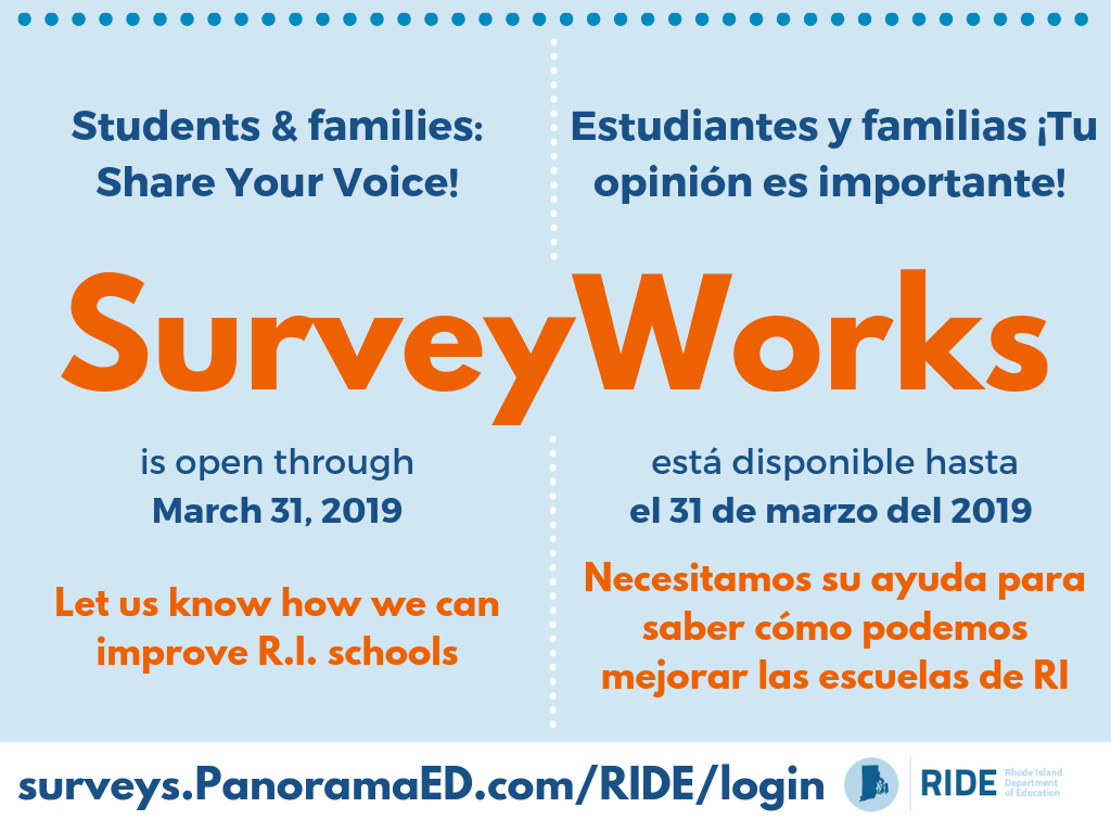 Students and families - SurveyWorks is open through March 31, 2019 - click here to share your voice
