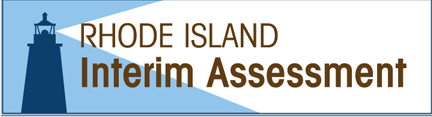 lighthouse silhouetted with the words Rhode Island Interim Assessment