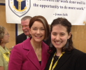 Newly awarded Milken winner Marielle Emet poses with Commissioner of Education Deborah A. Gist