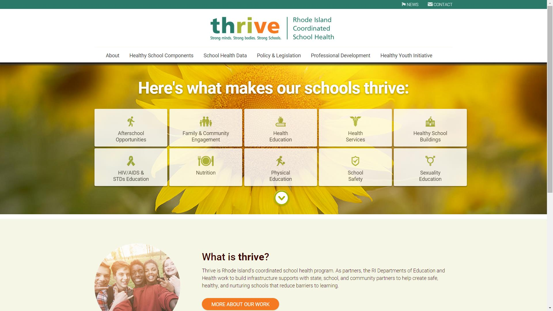 Screenshot of thrive homepage