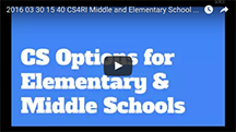 Webinar for Elementary and Middle School CS options