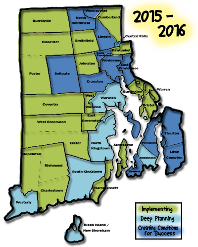Map of Rhode Island outlining and naming school districts and color coded according to which districts are in the implementing, deep planning, or creating conditions for success for blended learning