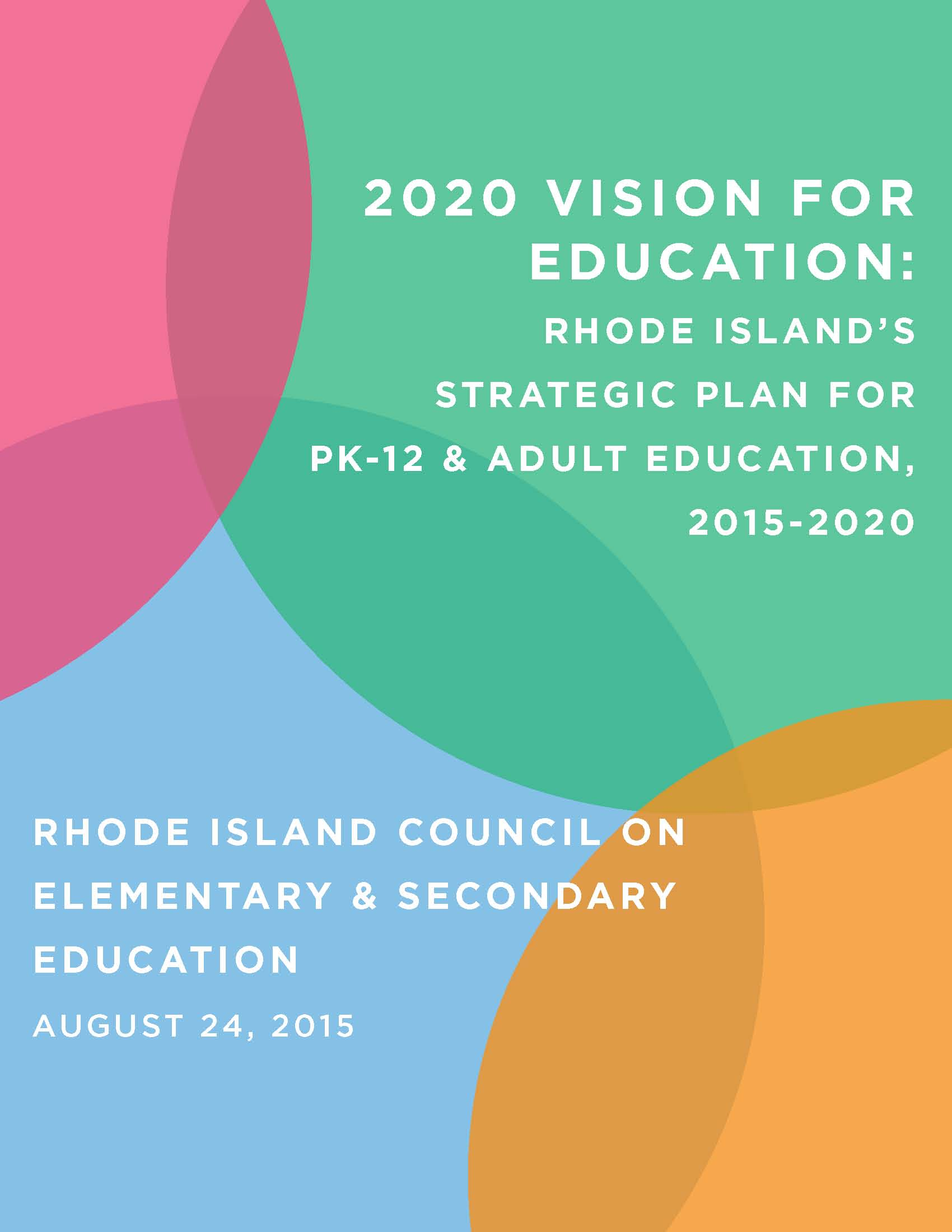 graphic showing the cover of the Rhode Island strategic plan for education